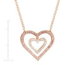 details about crystaluxe heart necklace with swarovski crystals in 18k rose gold plated silver