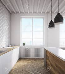 Kitchen Counter With Sink Bar Parquet Floor And Large Window