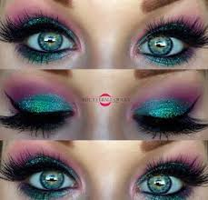 disney princess ariel glittery makeup vibrant makeup contrasting colors violet voss anastasia beverly hills mac cosmetics shimmer inspired the