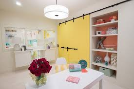 home office in basement. Eclectic Basement Home Office With Colorful Barn Doors In