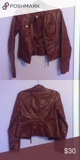 leather jacket a burdy leather jacket from new york company lined with 100 polyester so it s perfect for spring and fall only worn twice