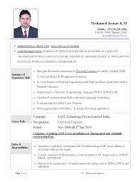 Sample Engineering Resume Civil Objective Format Freshers Electrical