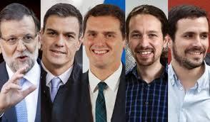 Resultado de imagen de imagenes de los cuatros políticos españoles delas elecciones,