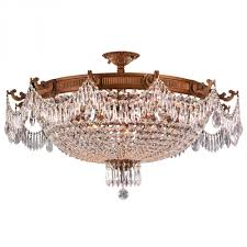 winchester collection 12 light french gold finish and clear crystal semi flush mount ceiling light 3