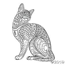 Tribal Cat Adult Coloring Page Free Printable Oriental Trading