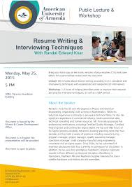 upcoming events resume writing interviewing techniques aua resume writing