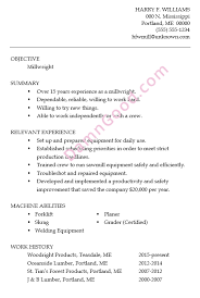 Harry's Resume Sample for a Millwright Job