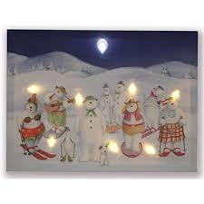 Canvas Christmas Prints With Led Lights Hong Art Wall Art Framed With Led Light Christmas Snowman