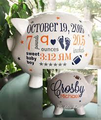 denver broncos personalized piggy bank football custom piggy bank baby boy piggy bank baby birth stats gift piggy bank baby gift by bubbiered on etsy