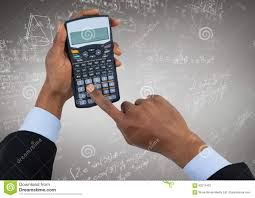Composite Chart Calculator Hands With Calculator Against White Math Doodles And Grey