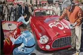 mille miglia 1950 s painting the start numbers on the cars original oil on