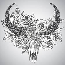 Nálepka Dekorativní Indická Býk Lebka Tetování Kmenové Stylu S Květy