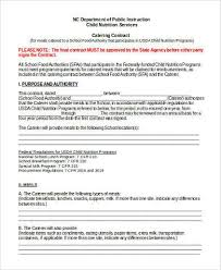 free catering contract form wedding catering contract sample
