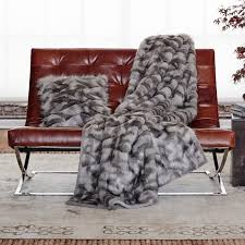 faux fur throw gray fox