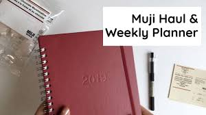 Mini Muji Haul & <b>2019 A5</b> Muji Weekly <b>Planner</b> Overview - YouTube