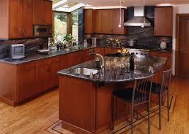 kitchen backsplash cherry cabinets black counter. Kitchen With Cherry Cabinets Brown Oak Wooden Cabinet Backsplash Black Counter