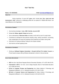 Sample Resume Format For 8 Months Experience 3 Resume Format