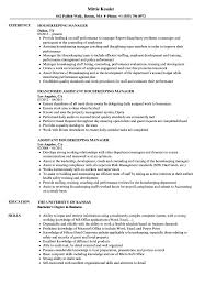 Resume For Housekeeping Job Housekeeping Manager Resume Samples Velvet Jobs 10