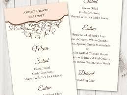 diy wedding invitation template. spring vines peach menu printable template diy wedding invitation p