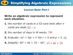 represent each situation 1 simplifying algebraic expressions ppt
