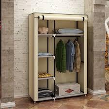 portable closet storage organizer clothes wardrobe shoe rack with shelves beige