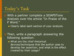 a tool for analyzing visuals poetry and nonfiction ppt video today s task a partner complete a soapstone analysis over the article in praise of the
