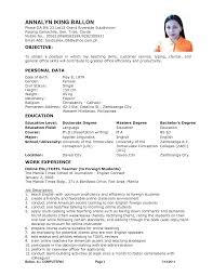 Example Of Simple Filipino Resume Templates Pia Teacher Examples