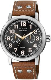 eco drive brown leather strap watch 43mm ao9030 05e