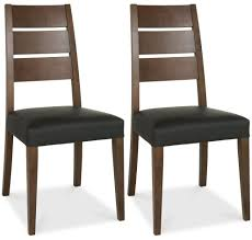 bentley designs akita walnut brown faux leather slatted dining chair pair