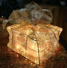 glass blocks lights lighted glass block gift with bow night light holiday glass block light craft