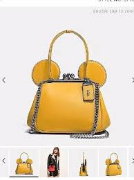 coach disney leather purse bag yellow mickey mouse ears 1820741907