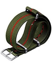 amazon co uk nylon watch straps men watches zuludiver® marine nationale nylon nato watch strap green pin stripe satin hardware 20mm 22mm