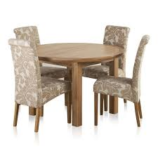 knightsbridge natural oak dining set 4ft round extending table 4 scroll back patterned chairs express delivery