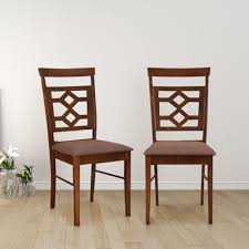 Image Cushion Buy Eva Solid Wood Dining Chair Set Of Two In Dark Brown Colour By Hometown Online At Best Price Hometownin Hometownin Buy Eva Solid Wood Dining Chair Set Of Two In Dark Brown Colour By