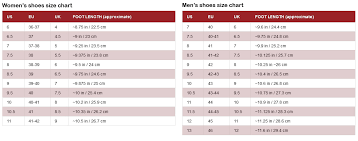 International Footwear Size Chart Sizes Guide
