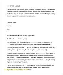 Job Offer Template Letter Didex Me