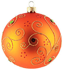 Jeweled Orange Ball Ornament, Large contemporary-christmas-ornaments