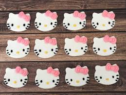 12 Hello Kitty Cupcake Toppers Hello Kitty Cake Edible Etsy