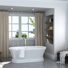 ove decors 33 in x 69 in gloss white acrylic oval freestanding bathtub with