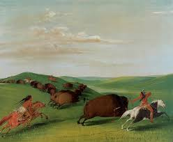 george catlin painting buffalo chase with bows and lances by george catlin