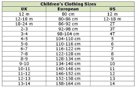 Size Chart Children Clothes Baby Clothes Sizes Size