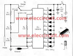 simple led voltmeter circuit using lm3914 eleccircuit the led display voltmeter in probe model