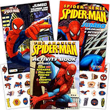marvel spiderman coloring book set with stickers and posters 3 books