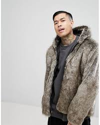 asos multicolor faux fur er with hood in stone for men lyst