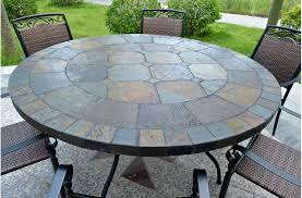 close 63 round top slate outdoor stone patio dining table oceane