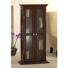 Lockable Dvd Storage Cabinet Wood And Glass Dvd Cd Cabinet Walnut Walmartcom