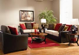 living room design ideas with brown leather sofa colorful cushions added by round