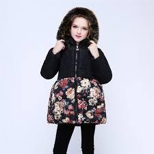 2018 winter coats girls outerwear fur hooded coats for girls print winter fleece jacket kids teenage