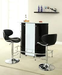 glass bar table set coaster home bar unit modern style black white and chrome finish metal glass bar table set
