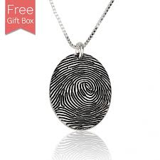 sterling silver personalized fingerprint necklace